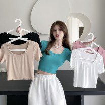 T-shirt Apricot, white, blue, black, pink Average size Summer 2021 Short sleeve Crew neck Self cultivation have cash less than that is registered in the accounts routine commute cotton 71% (inclusive) - 85% (inclusive) 18-24 years old Korean version Solid color Other / other 9038#