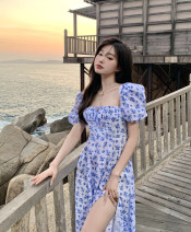 Dress Spring 2021 blue S, M Mid length dress singleton  Short sleeve commute High waist Broken flowers Socket puff sleeve 18-24 years old Other / other Korean version 31% (inclusive) - 50% (inclusive) other