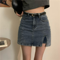 skirt Summer 2021 S,M,L Graph color Short skirt commute High waist Denim skirt Solid color Type A 18-24 years old 31% (inclusive) - 50% (inclusive) other Korean version