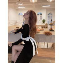 Dress Spring 2021 Picture color S,M,L Mid length dress singleton  Long sleeves commute square neck High waist Solid color Socket other routine Others 18-24 years old Other / other Korean version Bandage, stitching