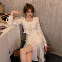 Dress Spring 2021 S,M,L Mid length dress singleton  Long sleeves commute square neck High waist Solid color Socket other routine Others 18-24 years old Korean version