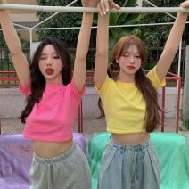 T-shirt Lake blue, white, purple, yellow, black, orange, pink, lake green Average size Summer 2021 Short sleeve Crew neck easy have cash less than that is registered in the accounts routine commute other 51% (inclusive) - 70% (inclusive) 18-24 years old Korean version Solid color fold