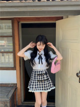 skirt Summer 2021 S. M, average size White shirt, plaid skirt Short skirt commute High waist skirt lattice Type A 18-24 years old 51% (inclusive) - 70% (inclusive) other Other / other other Stitching, lace Korean version