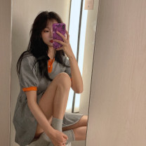 Dress Spring 2021 Grey color matching Average size Short skirt singleton  Short sleeve commute Polo collar High waist Solid color Socket other puff sleeve Others 18-24 years old Other / other Korean version Button, button 8153#
