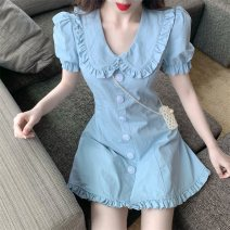 Dress Spring 2021 blue S, M Short skirt singleton  Short sleeve commute Doll Collar High waist Solid color Single breasted other puff sleeve Others 18-24 years old Other / other Korean version Button, fold