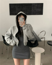 Sweater / sweater Spring 2021 Dark grey dress, light grey zipper coat Average size Long sleeves have cash less than that is registered in the accounts Cardigan singleton  routine Hood easy commute routine Solid color 18-24 years old 91% (inclusive) - 95% (inclusive) Korean version cotton zipper