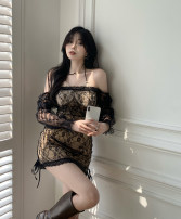 Dress Spring 2021 Two pieces of black fake S, M Short skirt Fake two pieces Long sleeves commute High waist Socket A-line skirt routine Hanging neck style 18-24 years old Korean version More than 95% other polyester fiber