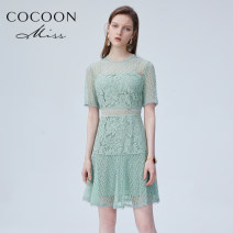 Dress Summer 2020 light green 155/80A/XS,160/84A/S,165/88A/M Middle-skirt singleton  Short sleeve commute Crew neck High waist Solid color zipper Big swing 25-29 years old Type A Other / other lady 9020102278A More than 95% other nylon
