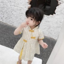 cheongsam 80 90 100 110 120 Orange yellow Other 100% There are models in the real shooting summer lattice Class B Summer of 2019 12 months, 6 months, 9 months, 18 months, 2 years, 3 years, 4 years, 5 years, 6 years Chinese Mainland