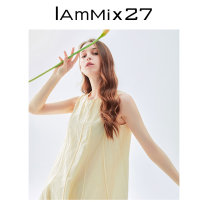 Dress Summer 2021 Cream yellow white S M L XL Mid length dress singleton  Sleeveless Sweet Crew neck Loose waist Solid color Socket A-line skirt other Others 25-29 years old Type A IAmMIX27 Splicing M0B9013 51% (inclusive) - 70% (inclusive) other nylon Polyamide fiber (nylon) 53.3% cotton 46.7%