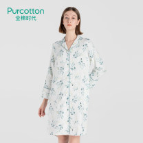 Dress Winter 2020 Green leaves on a white background S M L XL XXL Mid length dress singleton  Long sleeves Hood other Single breasted other routine 25-29 years old Type H PurCotton / cotton Era printing PUQ211008 - five hundred and fifty-four thousand four hundred and fifty-nine More than 95% cotton