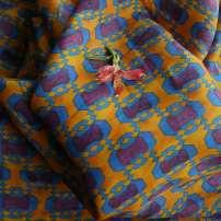 Fabric / fabric / handmade DIY fabric hemp Loose shear rice Geometric pattern printing and dyeing clothing Chinese style