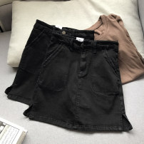 skirt Spring 2021 S,M,L Black skirt Short skirt commute High waist A-line skirt Solid color 18-24 years old SG214655 30% and below other other Korean version