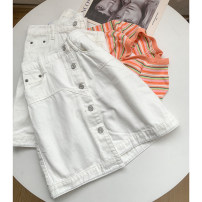 skirt Summer 2021 S,M,L,XL White skirt Short skirt commute High waist A-line skirt Solid color Type A 18-24 years old SG214652 30% and below other Other / other cotton pocket