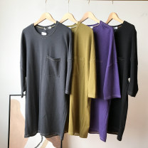 Dress Spring 2021 Purple, gray, black, green Average size Mid length dress singleton  Long sleeves commute Crew neck Loose waist Solid color Socket other other Others 18-24 years old printing FG710435 30% and below other other