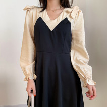 Dress Autumn 2020 Rust red dress, black dress, green dress M, L Short skirt singleton  Long sleeves commute V-neck Solid color Socket other routine 18-24 years old Other / other Korean version FG903849 30% and below other other