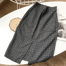 skirt Spring 2021 S, M Grey black skirt, coffee skirt longuette commute High waist A-line skirt lattice Type A 18-24 years old SG711180 30% and below other other zipper