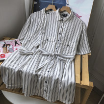 Dress Summer 2021 white XS,S,M,L Mid length dress singleton  Long sleeves commute Polo collar stripe Socket 18-24 years old Other / other FG159055 30% and below
