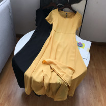 Dress Summer 2020 S,M,L Mid length dress singleton  Short sleeve commute Crew neck Loose waist Solid color Socket A-line skirt routine Others 18-24 years old Type A Other / other Korean version 30% and below other other