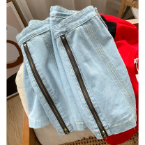 skirt Spring 2021 S,M,L blue Short skirt commute High waist A-line skirt Solid color Type A 18-24 years old 30% and below Other / other other Korean version
