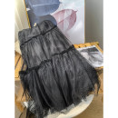 skirt Spring 2021 S,M,L Black skirt Middle-skirt Versatile Natural waist Pleated skirt Solid color Type A 18-24 years old FG514534 30% and below other cotton