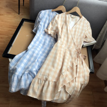 Dress Summer 2021 Apricot, blue Average size Mid length dress singleton  Long sleeves commute V-neck lattice Socket 18-24 years old Type A Other / other SG514976 30% and below