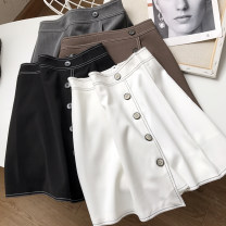 skirt Summer 2021 S,M,L,XL Brown, gray, white, black Short skirt commute High waist A-line skirt Solid color Type A 18-24 years old FG416936 30% and below other Other / other other zipper
