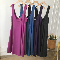 Dress Spring 2021 Rose red suspender skirt, purple suspender skirt, blue suspender skirt, black suspender skirt M, L longuette singleton  Sleeveless commute V-neck High waist Solid color Socket A-line skirt routine camisole 25-29 years old Type A Button FG513226 other cotton