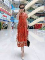 Dress Summer 2021 Coffee (genuine only), gray (genuine only), orange (genuine only), purple (genuine only), black (genuine only) 40. 2XL, height and weight are enough Mid length dress Two piece set Short sleeve commute Crew neck Loose waist Decor Socket Big swing routine Type A Korean version silk