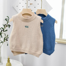 Sweater / sweater 80cm 90cm 100cm 110cm 120cm Pure cotton (100% cotton content) male Beige blue leisure time No model Single breasted routine Crew neck nothing Ordinary wool Solid color Cotton 100% Class A Sleeveless Spring 2020 spring and autumn