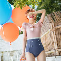 one piece  Tongtong swimsuit M,L,XL Color contrast With chest pad without steel support female Short sleeve Casual swimsuit