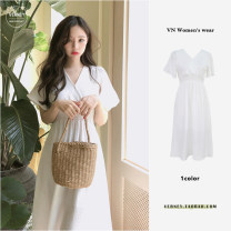 Dress Summer 2020 Off white S,M,L,XL Mid length dress singleton  Short sleeve Sweet V-neck High waist Solid color Socket Big swing Lotus leaf sleeve Others 18-24 years old Type H 81% (inclusive) - 90% (inclusive) Chiffon polyester fiber college