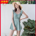 one piece  Tagkita / she and others M,L,XL Green, blue Skirt one piece With chest pad without steel support sexy female Sleeveless Casual swimsuit Lotus leaf edge