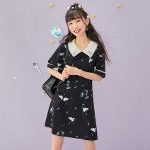 Hanfu 96% and above Summer 2020 Dress (black) flower wandering dress (white) flower wandering XS spot s spot m spot l spot XL spot polyester fiber