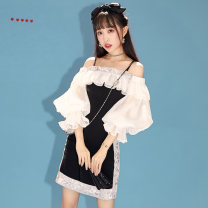 Dress Spring 2020 XS S M L XL Short skirt 18-24 years old More than thirteen SYS141436 30% and below polyester fiber