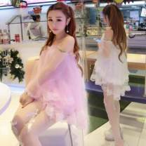 Lace / Chiffon Winter 2016 White, pink Long sleeves Sweet Socket singleton  easy have cash less than that is registered in the accounts One word collar Solid color puff sleeve Gauze, lace