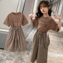 suit Fun clothes Brown white 110cm 120cm 130cm 140cm 150cm 160cm female summer Korean version Short sleeve + pants 2 pieces routine There are models in the real shooting Socket nothing Solid color cotton children birthday British Wind harness Class B Spring 2021 Chinese Mainland