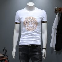 T-shirt other White, black thin Versace Short sleeve stand collar Self cultivation daily Four seasons routine