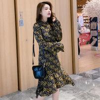 Nursing clothes Decor M,L,XL,2XL Other / other Socket spring and autumn Long sleeves Medium length Korean version Dress Decor Lift up Chiffon