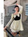 Dress Summer 2021 Picture color S,M,L Short skirt singleton  Long sleeves commute square neck High waist Solid color zipper A-line skirt 18-24 years old Type A Korean version bow 71% (inclusive) - 80% (inclusive)