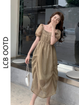 Dress Summer 2021 Picture color S,M,L,XL longuette singleton  Short sleeve commute square neck High waist Solid color Irregular skirt puff sleeve 18-24 years old Type A Korean version 81% (inclusive) - 90% (inclusive)