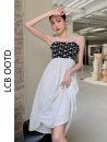 Dress Spring 2021 Black and white XS,S,M,L Mid length dress singleton  Sleeveless commute High waist Broken flowers A-line skirt camisole 18-24 years old Type A Retro Lotus leaf edge 31% (inclusive) - 50% (inclusive) polyester fiber
