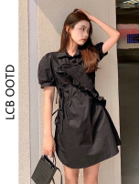 Dress Summer 2021 black S,M,L,XL Short skirt singleton  Short sleeve commute Polo collar High waist Solid color A-line skirt puff sleeve 18-24 years old Type A Korean version 31% (inclusive) - 50% (inclusive) cotton