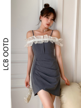 Dress Summer 2021 grey S,M,L,XL Short skirt singleton  commute One word collar High waist Solid color zipper A-line skirt camisole 18-24 years old Type A Korean version backless 81% (inclusive) - 90% (inclusive) polyester fiber