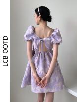 Dress Summer 2021 Fairy violet S, M Short skirt singleton  Short sleeve commute square neck High waist A-line skirt puff sleeve 18-24 years old Type A Korean version