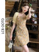 Dress Summer 2021 yellow S,M,L,XL Short skirt singleton  Short sleeve commute square neck High waist Broken flowers A-line skirt puff sleeve 18-24 years old Type A Korean version 81% (inclusive) - 90% (inclusive)