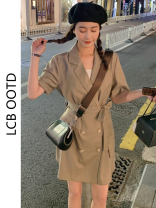 Dress Summer 2021 Black, khaki, grey S,M,L Short skirt singleton  Short sleeve commute tailored collar High waist Solid color double-breasted A-line skirt routine Others 18-24 years old Type A Korean version Lace up, button More than 95% polyester fiber