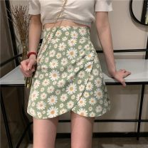 skirt Summer 2020 S,M,L Green, black Short skirt Versatile High waist A-line skirt Broken flowers Type A 18-24 years old 30% and below other other
