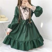 Dress Summer 2020 blackish green Average size Mid length dress singleton  Long sleeves Sweet Lotus leaf collar middle-waisted Solid color Socket A-line skirt routine 18-24 years old Type A Other / other Four point one 91% (inclusive) - 95% (inclusive) Chiffon polyester fiber solar system