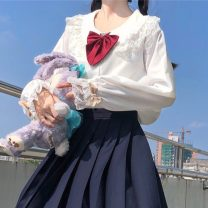 shirt White (quality version), black (quality version) Average size Autumn 2020 other 30% and below Long sleeves Sweet Regular Doll Collar Single row multi button routine Solid color 18-24 years old Straight cylinder Nine point two solar system